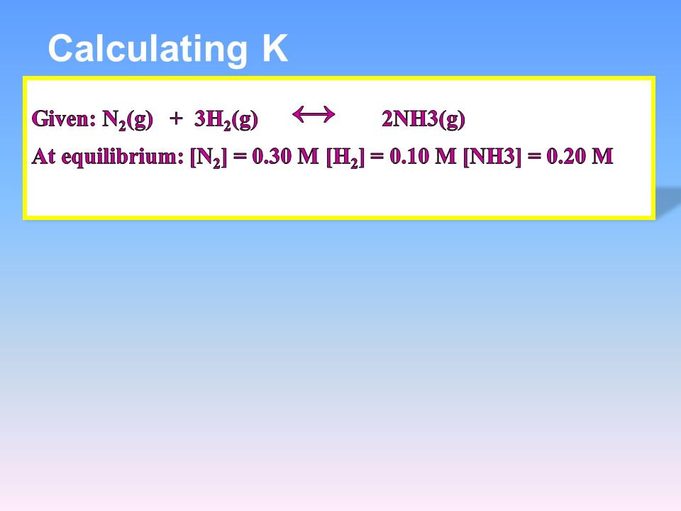 Calculating K Given: N2(g) + 3H2(g) ↔ 2NH3(g) At equilibrium: [N2] = 0.30 M [H2] = 0.10 M [NH3] = 0.20 M